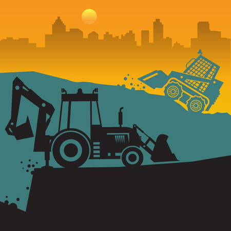 Tractors on work at construction site. Tractor grader, bulldozer silhouette, vector illustration Illustration