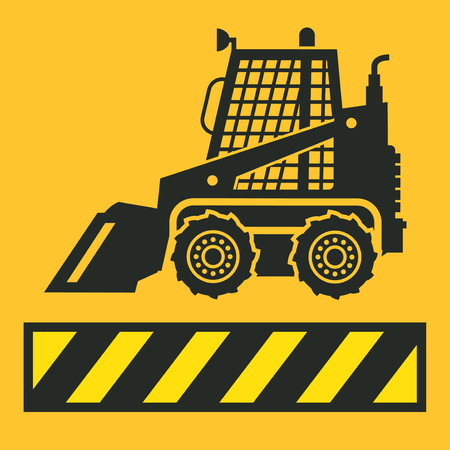 Tractor silhouette icon on a yellow background  vector illustration Illustration