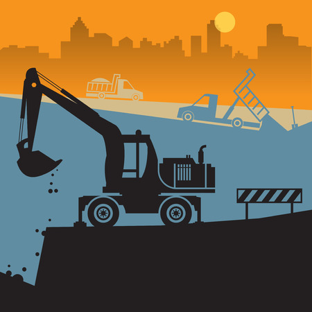 Tractors on work at construction site vector illustration Illustration