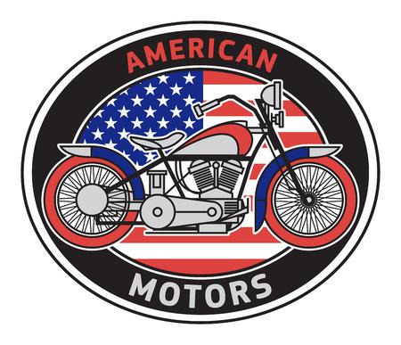 Biker motorcycle label or stamp with text American Motors. Bikers event or festival emblem. Vector illustration