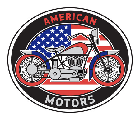 Biker motorcycle label or stamp with text American Motors. Bikers event or festival emblem. Vector illustration