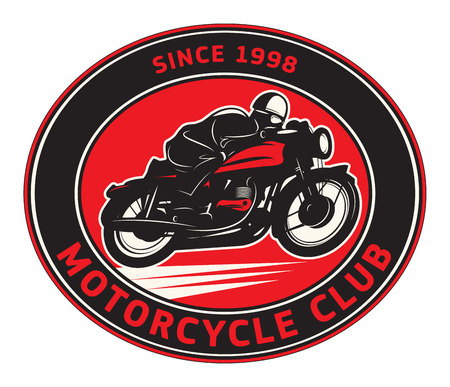 Biker riding a motorcycle label or stamp with text Motorcycle Club. Bikers event or festival emblem. Vector illustration