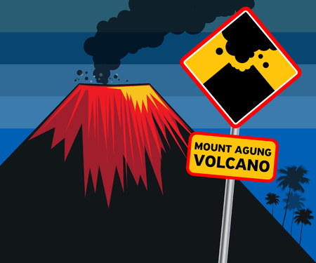 Flat design of volcano eruption and road sign with text.