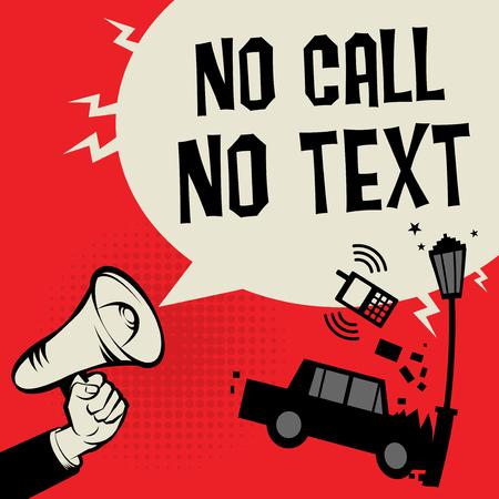 Geen oproep en tekst bij het besturen van concept met megafoon en auto illustratie