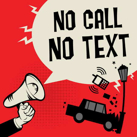 No call and text when driving concept with megaphone and car illustration
