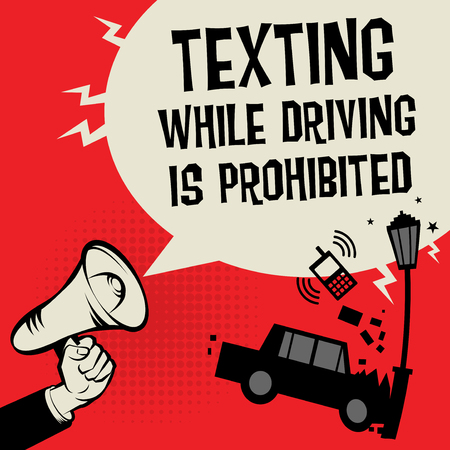 No text when driving concept with megaphone and car illustration