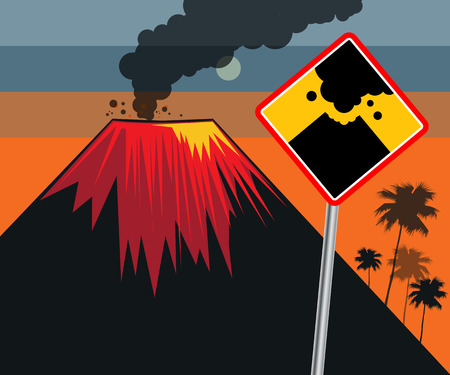 Flat design of volcano eruption with road sign.
