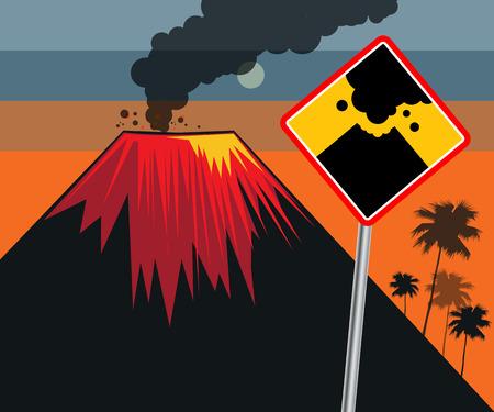 Flat design of volcano eruption with road sign. Illustration