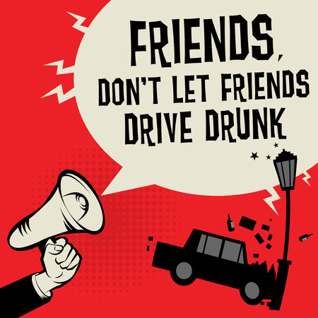 Don't drink when driving concept with megaphone and car illustration