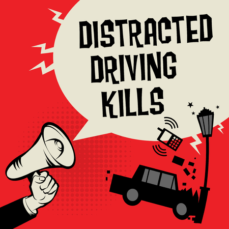 No distractions when driving concept with megaphone and car illustration Illustration