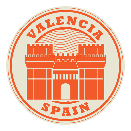 Stamp or emblem with words Valencia Spain Çizim