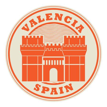Stamp or emblem with words Valencia Spain Illustration