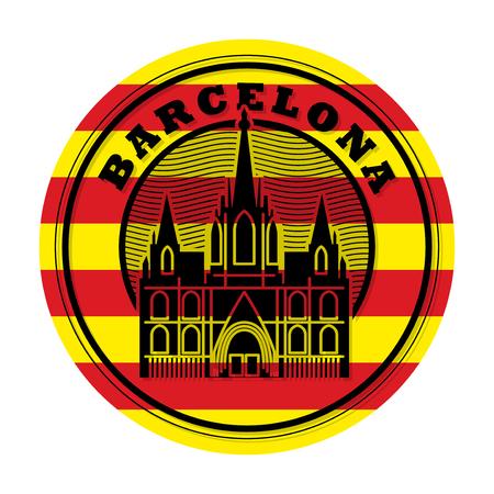 Stamp or emblem with word Barcelona Иллюстрация