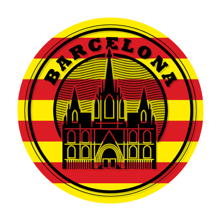 Stamp or emblem with word Barcelona Vettoriali