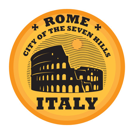 Stamp or emblem with Colosseum and the word Rome Italy Ilustrace