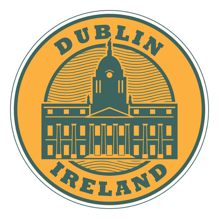 Stamp or emblem with text Dublin, Ireland inside, vector illustration. Çizim