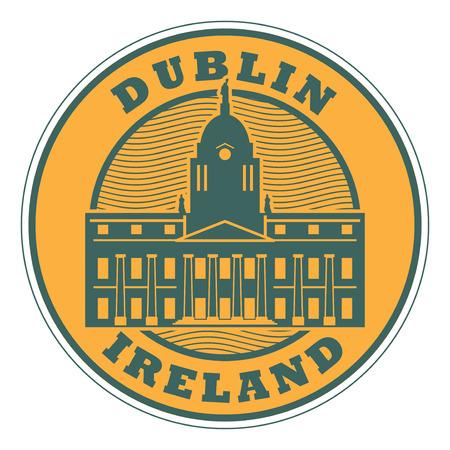 Zegel of embleem met binnen tekst Dublin, Ierland, vectorillustratie.