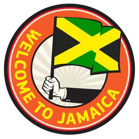 Jamaica country welcome sign or stamp, vector illustration.