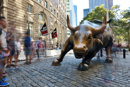 NEW YORK CITY, USA - AUG. 23 : Charging Bull in Lower Manhattan on August 23, 2017 in New York City, NY. Charging Bull is symbol of