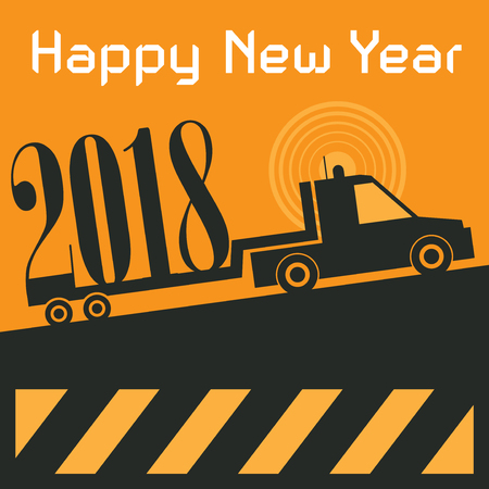 Happy New Year greeting card - truck at work, vector illustration