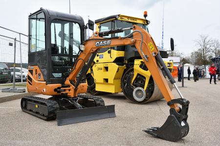 VILNIUS, LITHUANIA - APRIL 27: Case mini excavator on April 27, 2017 in Vilnius, Lithuania. Case Construction Equipment is a brand of construction equipment from CNH Industrial
