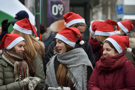 VILNIUS, LITHUANIA - DECEMBER 17: People on traditional Vilnius Christmas race on 17 December 2017 in Vilnius Lithuania Editorial