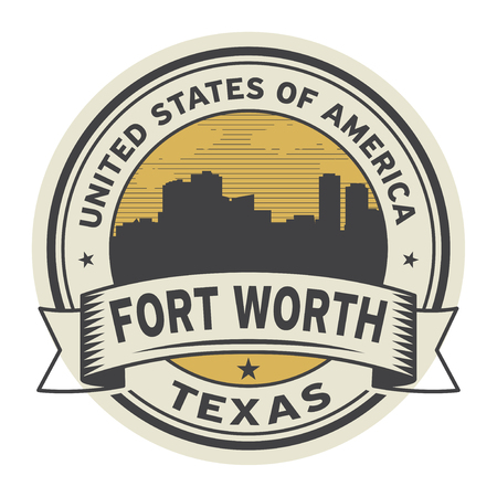 Stamp or label with name of Fort Worth, Texas, vector illustration