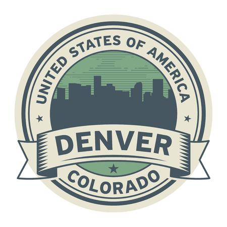 Stamp or label with name of Denver, Colorado, vector illustration Illustration