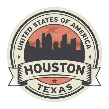 Stamp or label with name of Houston, Texas, vector illustration Ilustrace