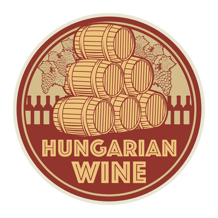 Vintage wine label or stamp, text Hungarian Wine, vector illustration