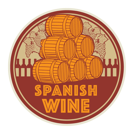 Vintage wine label or stamp, text Spanish Wine, vector illustration