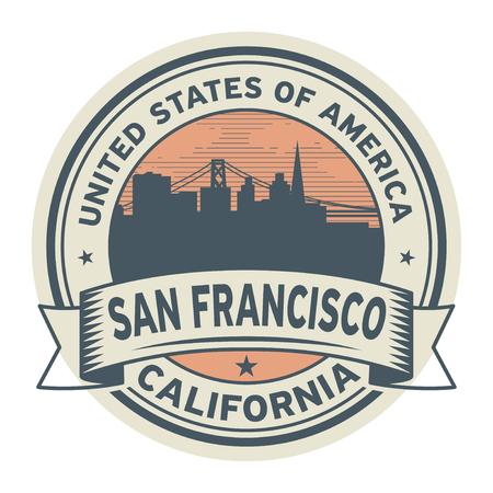 Zegel of etiket met naam van de vectorillustratie van San Francisco, Californië