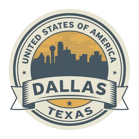 Sello o etiqueta con el nombre de Dallas, Texas, ilustración vectorial. Foto de archivo - 92519896