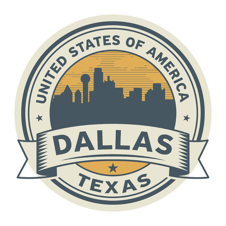 Stamp or label with name of Dallas, Texas, vector illustration.