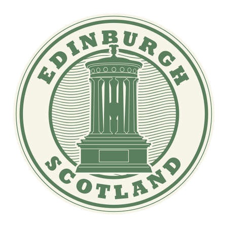 Stamp or label with the name of Edinburgh, Scotland written inside the stamp, vector illustration Vettoriali