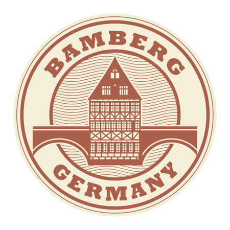 Stamp or label with text Bamberg, Germany inside, vector illustration