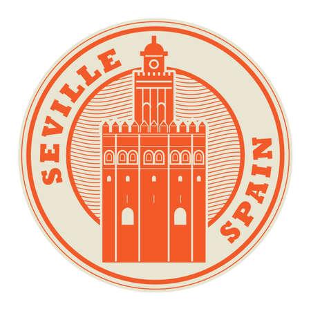 セビリア、スペイン内部、ベクトルイラストのスタンプやラベル  イラスト・ベクター素材