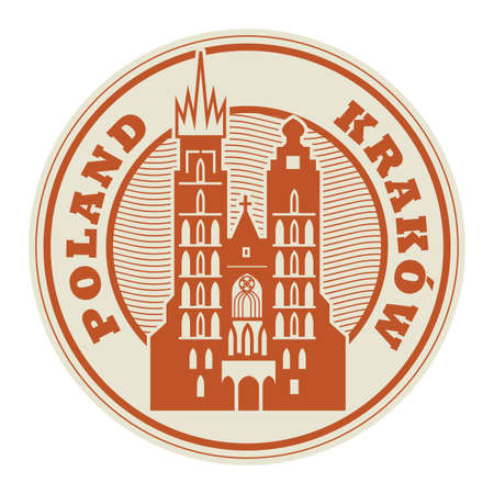 Stamp or label with words Krakow, Poland inside, vector illustration