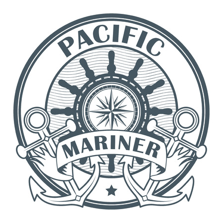 Stamp or label with the words Pacific Mariner written inside the stamp, vector illustration.