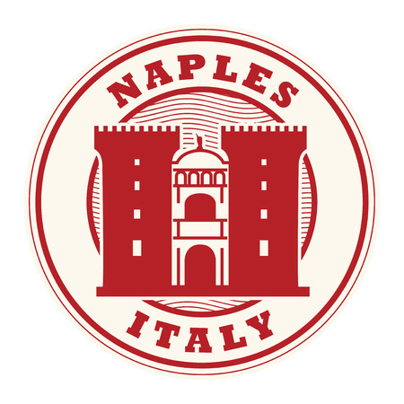 Stamp or label with words Naples, Italy inside, vector illustration. Illustration