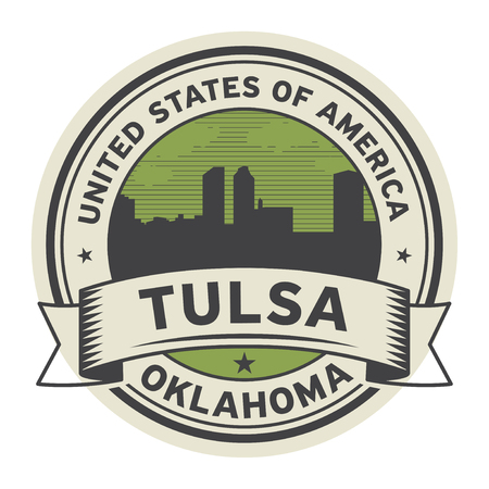 Stamp or label with name of Tulsa, Oklahoma, USA, vector illustration