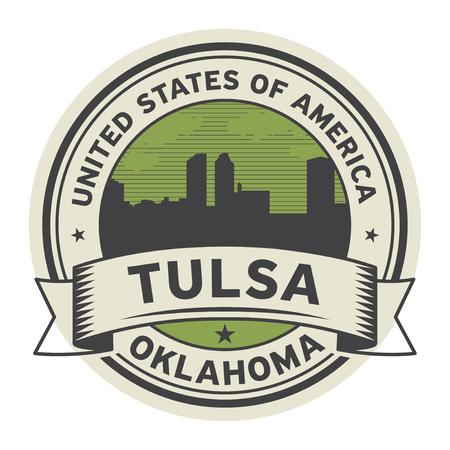 Timbro o etichetta con il nome di Tulsa, Oklahoma, USA, illustrazione vettoriale Archivio Fotografico - 92729926