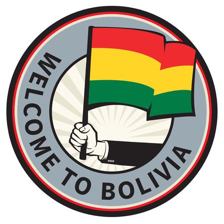 Signo de bienvenida del país de Bolivia o sello. Ilustración vectorial