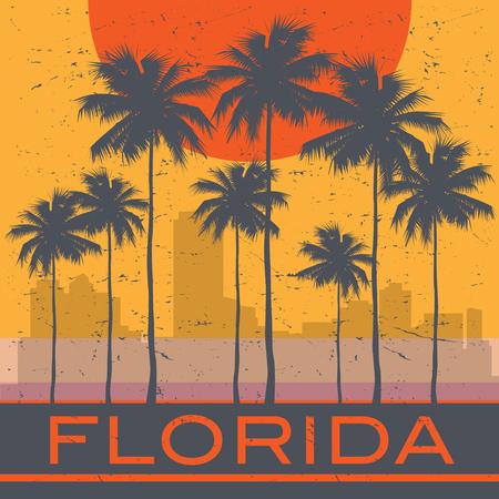 Florida coast beach poster. Vector illustration