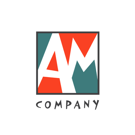 AM Letter logo design, vector illustration  イラスト・ベクター素材