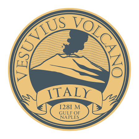 Stamp with words Vesuvius volcano, Italy, vector illustration.