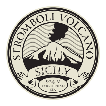 Stamp with words Stromboli volcano, Sicily, vector illustration. Illustration