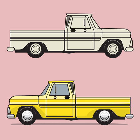 Retro pickup truck on color background  vector illustration.