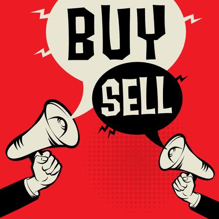 メガホン手のビジネスコンセプトとテキスト購入対販売、ベクトルイラスト
