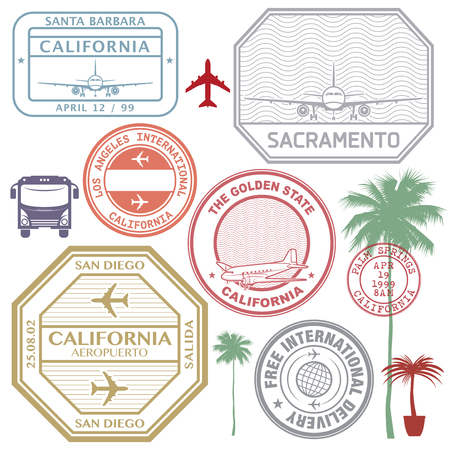Retro postage USA airport stamps set California state theme, vector illustration.
